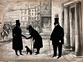 A man in a coat and top hat hands money to an old beggar wit Wellcome V0039963.jpg