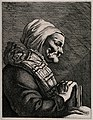 A profile of an old blind woman holding a book. Line engravi Wellcome V0015901.jpg