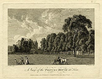 Kew Palace - An engraving after a 1771–72 watercolour by Paul Sandby, showing a view of the Dutch House from the riverside and Lady Charlotte Finch with some of the royal children