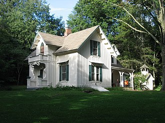Carpenter Gothic - Aaron Ferrey House, Kent, Ohio, an example of Downing's Form III