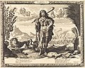 Man in the pose of Hercules, carrying club, lion and rooster in background