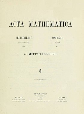 Image illustrative de l'article Acta Mathematica