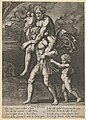 Aeneas carrying Anchises on his shoulders while Troy burns in the background MET DP832640.jpg