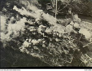 Bombing of Podgorica in World War II - Strike photograph of the daylight attack by Liberator, Wellington and Halifax aircraft of the RAF on the Yugoslav town of Podgorica. German escort vehicles with troops escaping from Greece, were waiting in this town till darkness fell before fleeing northwards.