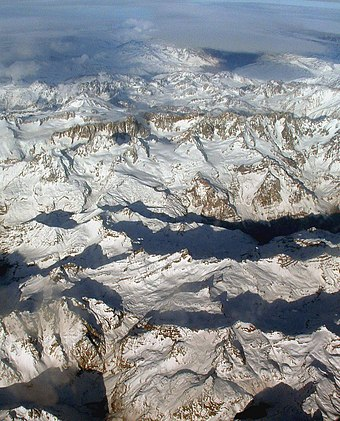 The Andes, the world's longest mountain range on the surface of a continent, seen from the air Aerial photo of the Andes.jpg