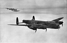 Three Avro Lancaster B.IIIs of No. 619 Squadron, airborne from RAF Coningsby whilst based there during 1944.