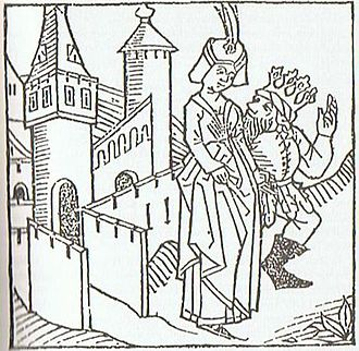 Ortnit - Alberich seduces the Lombard queen. Woodcut from the printed Heldenbuch, c. 1480.