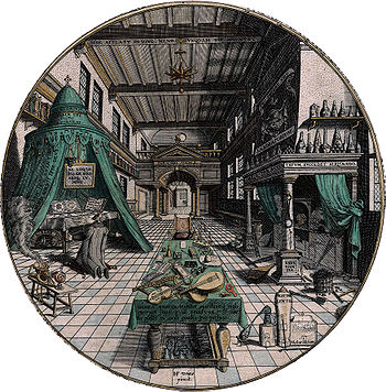 Il laboratorio dell'alchimista, illustrazione di Hans Vredman de Vries. Heinrich Khunrath. Amphitheatrum sapientiae aeternae (Amburgo, 1595)