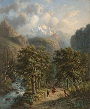 Alexander Joseph Daiwaille - Landscape in the mountains by Alexander Joseph Daiwaille