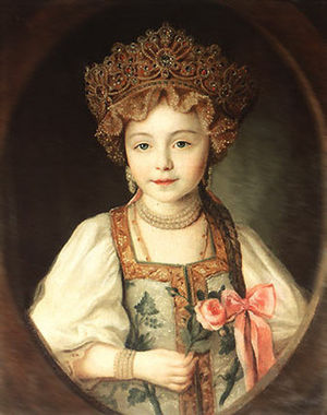 Grand Duchess Alexandra Pavlovna of Russia - A little Grand Duchess Alexandra Pavlovna dressed in kokoshnik and sarafan, 1790s.