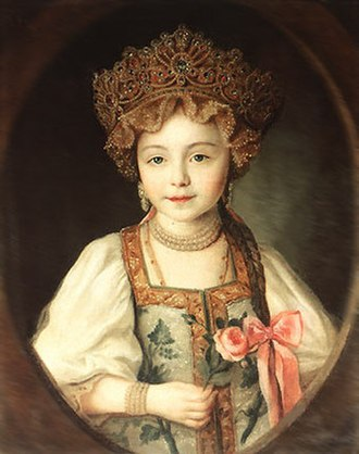 Kokoshnik - Image: Alexandra Pavlovna of Russia in Russian dress by anonim (1790s, Gatchina)