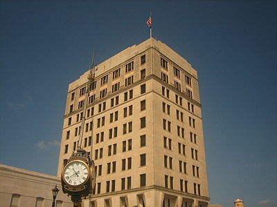 Capital One, formerly the Guaranty Bank and Trust Company, occupies the tallest building in Alexandria across Third Street from City Hall. Alexandria, LA, tallest building IMG 1127.JPG