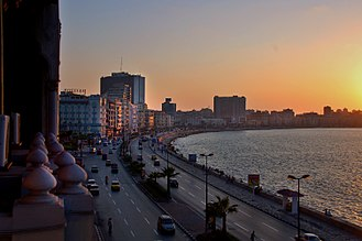 Corniche - Corniche (Alexandria) by Sunset, stretching with the city's residential coast line.