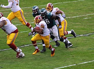 Alfred Morris (American football) - Morris rushing during a game against the Philadelphia Eagles on November 17, 2013.