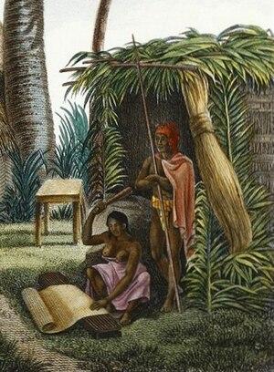 Kapa - Alphonse Pellion, Îles Sandwich; Maisons de Kraïmokou, Premier Ministre du Roi; Fabrication des Étoffes (c. 1819), Depicting High Chiefess LIkelike, the wife of Kalanimoku beating kapa cloth.