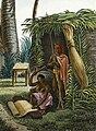 Alphonse Pellion, Îles Sandwich; Maisons de Kraïmokou, Premier Ministre du Roi; Fabrication des Étoffes (c. 1819, detail).jpg