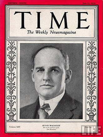 Alvan Macauley - Time magazine cover from July 22, 1929