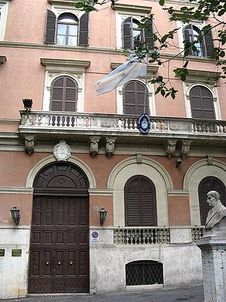 Argentina–Italy relations - Image: Ambasciata Arg Roma Front