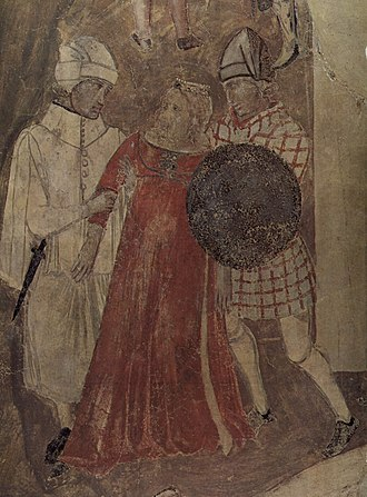 Ambrogio Lorenzetti - Allegory of bad government, two soldiers robbing a woman