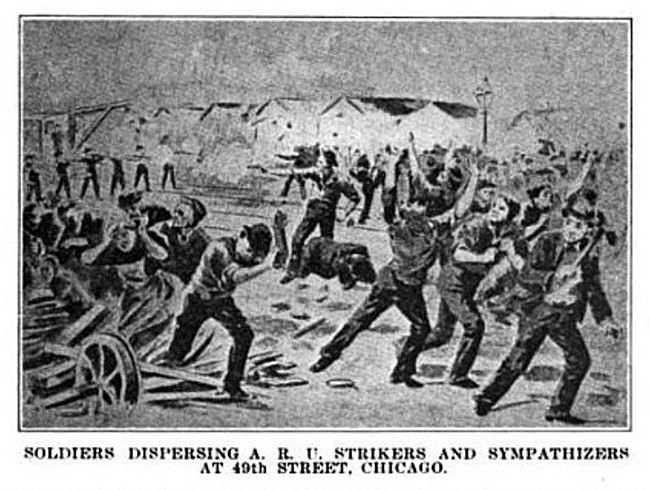 The 1894 Pullman Strike of the ARU being dispersed by soldiers