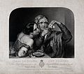 An old fortune-teller is reading a young woman's fortune by Wellcome V0025926.jpg