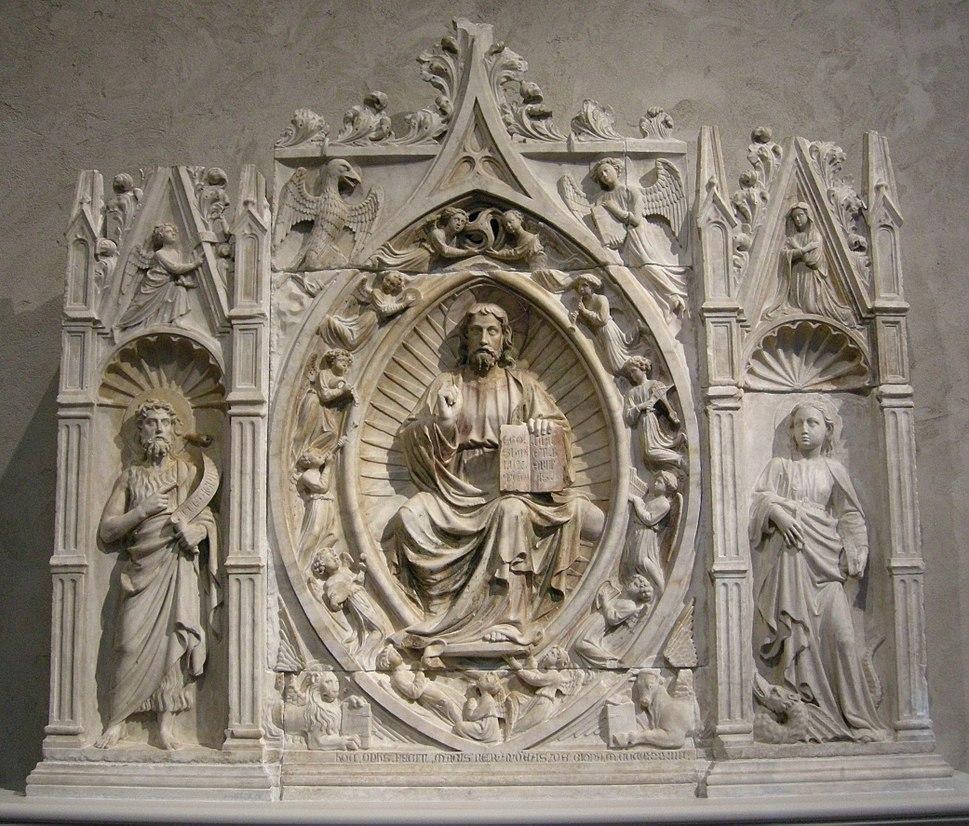 Andrea da giona, altarpiece with christ in mayesty, s. john the b., s. margareth, liguria, 1434