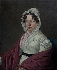 painting of a middle-aged woman, looking with serious expression in the direction of the painter