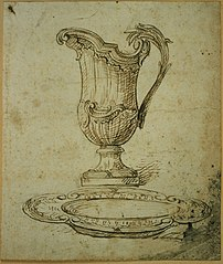 Preliminary sketch for a jug and a dish