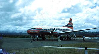 Ansett Australia - Ansett Convair CV-340 on the tarmac at Coolangatta Airport, Queensland in 1955