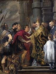 Anthonis van Dyck: Saint Ambrose barring Theodosius from Milan Cathedral