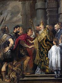 Η Εκδίωξη του Θεοδοσίου από τον Άγιο Αμβρόσιο έπειτα από τη σφαγή της Θεσσαλονίκης όπως παριστάνεται σε έργο του Antoon van Dyck.