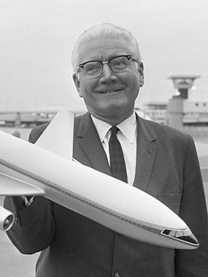 Carl Kotchian - Archibald Carl Kotchian with a model of the  L-1011 TriStar (1967)