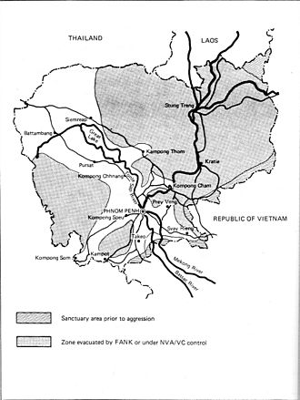 Cambodian Civil War - Areas under government control, August 1970