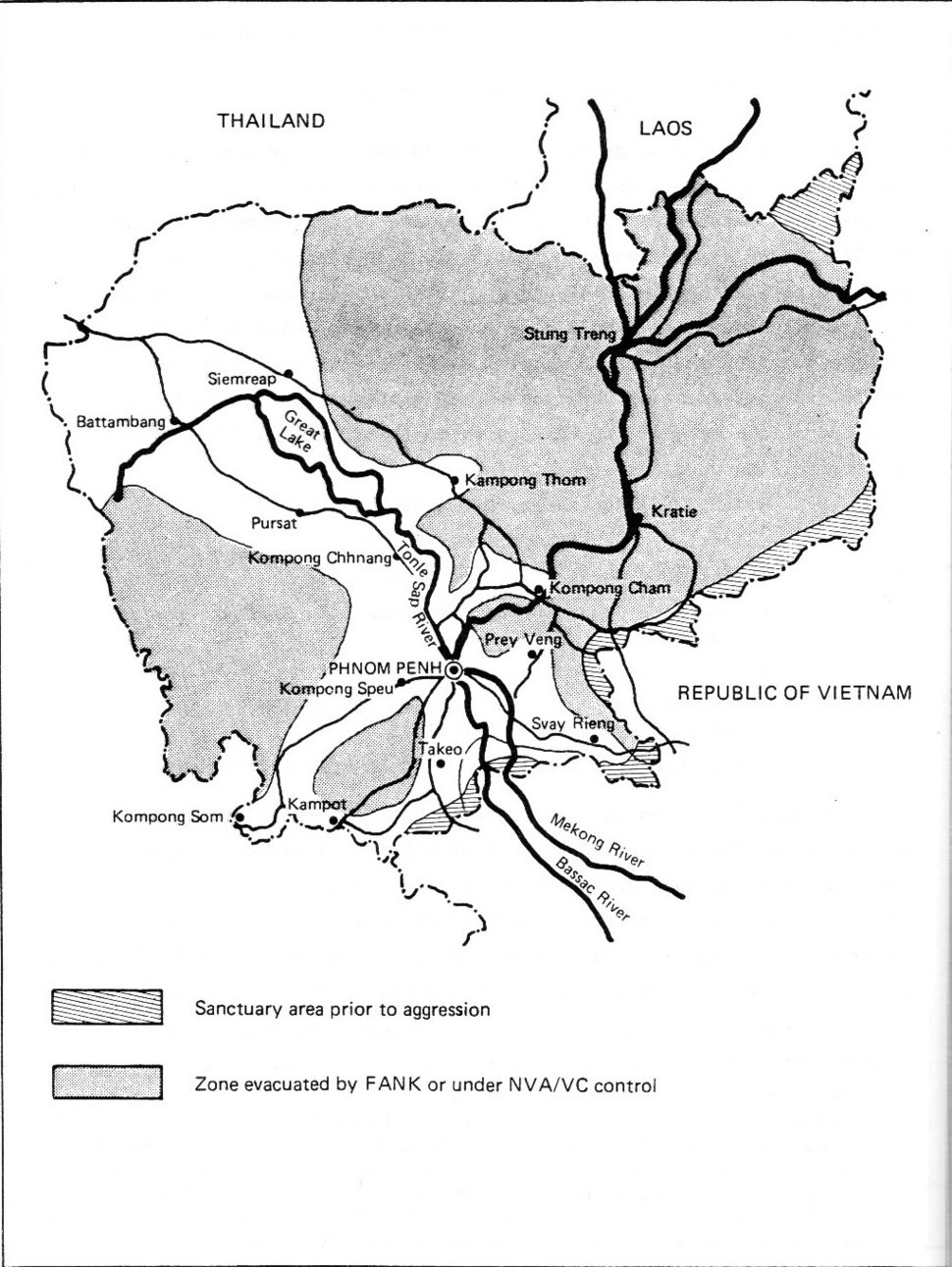 Areas of Cambodia under government control August 1970