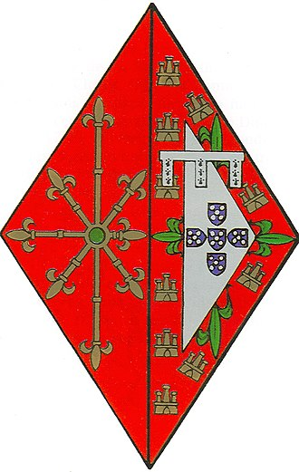 Beatrice of Coimbra - Coat of Arms (Lisonja) of Infanta Beatrice Coimbra, combining her father's arms (on the right) with her husband's (on the left).