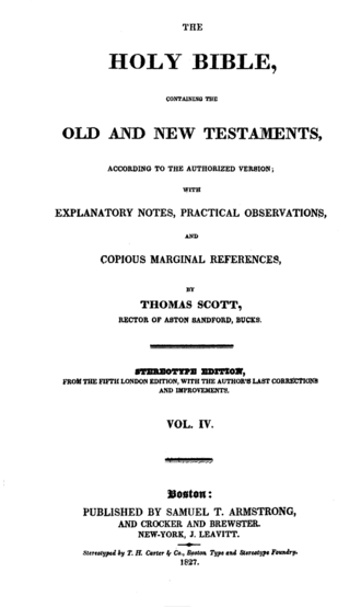 Samuel Turell Armstrong - Title page of an 1827 edition of Armstrong's printing of Scott's Bible