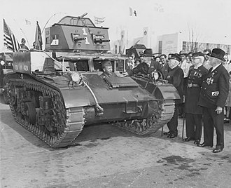 M1 Combat Car - Civil War veterans (wearing Grand Army of the Republic uniforms) inspect an M1 Combat Car at the 1939 World's Fair in New York
