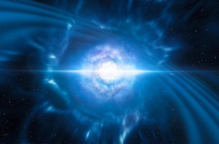 Artist's impression of merging neutron stars. This event is a source of gravitational waves. Artist's impression of merging neutron stars.jpg