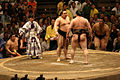 Asashoryu and Hakuho glare at each other 2008 May.jpg
