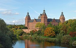 Johannisburg Castle in Aschaffenburg, view from south from the Main bridge