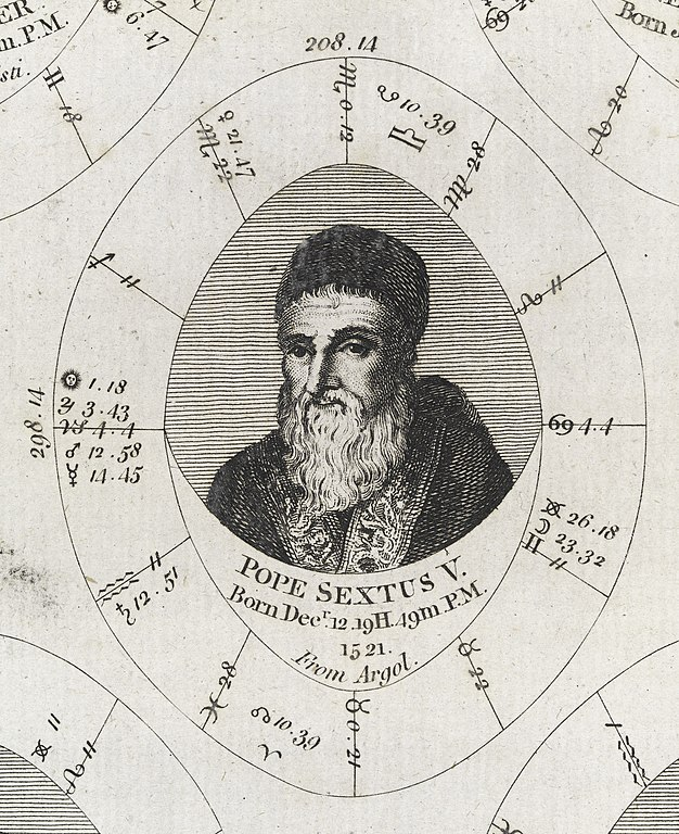Natal Birth Chart: Astrological birth chart for Pope Sextus V Wellcome L0040327 ,Chart