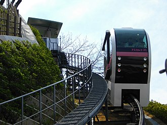 "Asukayama Park - The ""Ascargot"" car ascending the Asukayama Park Monorail, March 2010"