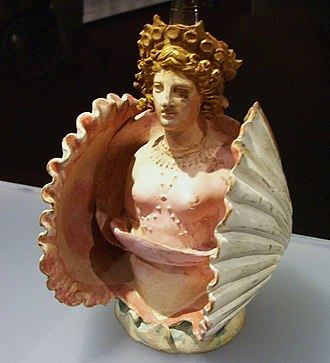 Bosporan Kingdom - Pottery vessel in the shape of Aphrodite inside a shell; from Attica, Classical Greece, discovered in the Phanagoria cemetery, Taman Peninsula (Bosporan Kingdom, southern Russia), 1st quarter of 4th century BC, Hermitage Museum, Saint Petersburg.