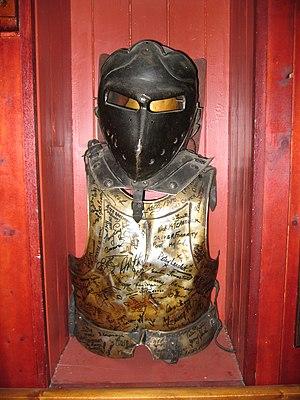 Excalibur (film) - Autographed armor from the movie Excalibur in a pub in Cahir, Ireland, 2004
