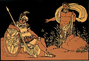 Julia (gens) - Aeneas, legendary ancestor of the Julii, with the god of the Tiber.