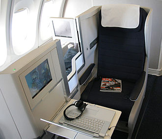 Business class - Business-class seat on a British Airways Boeing 747-400
