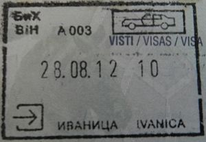 Visa policy of Bosnia and Herzegovina - Image: BOSNIA IVANICA entry stamp