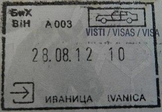 Visa policy of Bosnia and Herzegovina - Image: BOSNIA IVANICA entry stamp