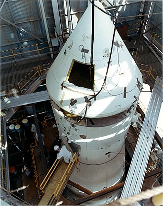 Saturn V Dynamic Test Vehicle - BP-27 sat atop the S-IB dressed with sensors for dynamic testing as seen here before it was used for Saturn V testing.