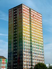 Glasgow tower block, the day after filming